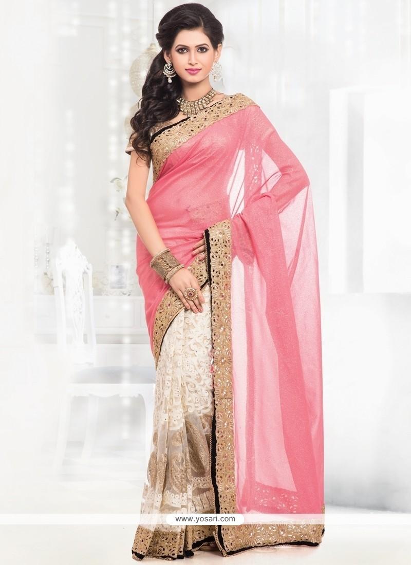 Floral Net Zari Work Half N Half Designer Saree