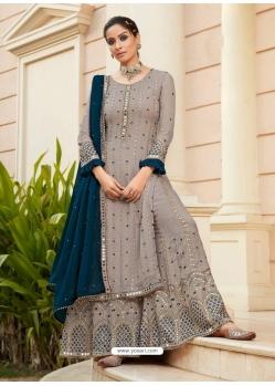 Grey Designer Heavy Faux Georgette Palazzo Salwar Suit