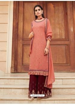 Light Orange Designer Heavy Faux Georgette Palazzo Salwar Suit