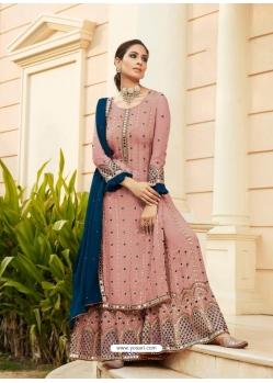 Old Rose Designer Heavy Faux Georgette Palazzo Salwar Suit