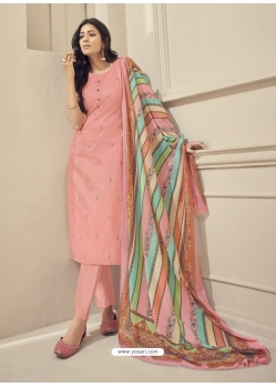 Peach Readymade Designer Pure Jam Satin Straight Salwar Suit