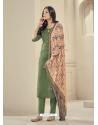 Mehendi Readymade Designer Pure Jam Satin Straight Salwar Suit