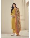 Mustard Readymade Designer Pure Jam Satin Straight Salwar Suit