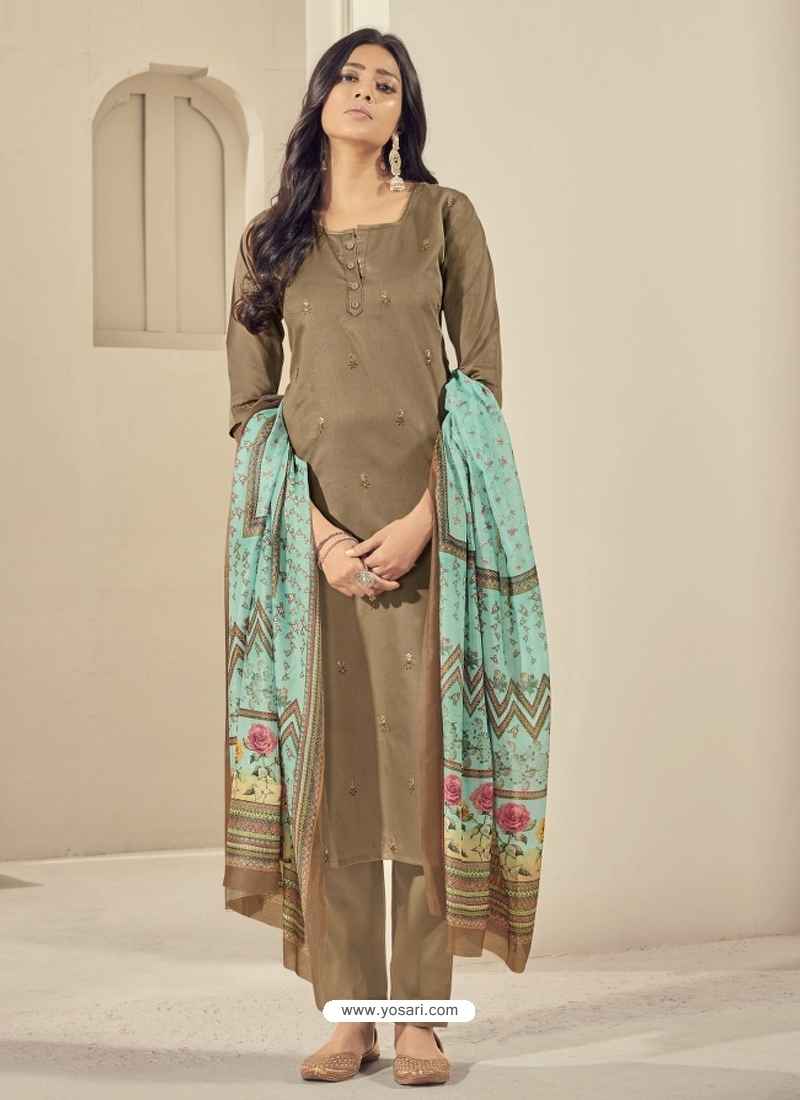 Copper Readymade Designer Pure Jam Satin Straight Salwar Suit