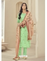 Sea Green Readymade Designer Pure Jam Satin Straight Salwar Suit