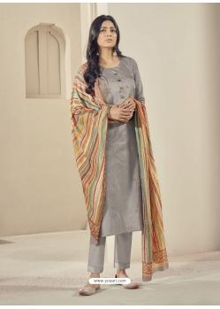 Silver Readymade Designer Pure Jam Satin Straight Salwar Suit