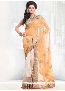 Lustrous Embroidered Work Designer Half N Half Saree