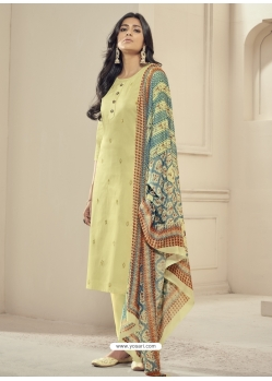 Light Yellow Readymade Designer Pure Jam Satin Straight Salwar Suit