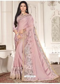 Dusty Pink Designer Party Wear Sari