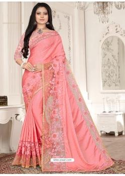Peach Designer Party Wear Sari