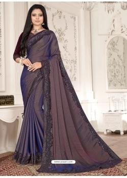 Dark Blue Designer Party Wear Sari