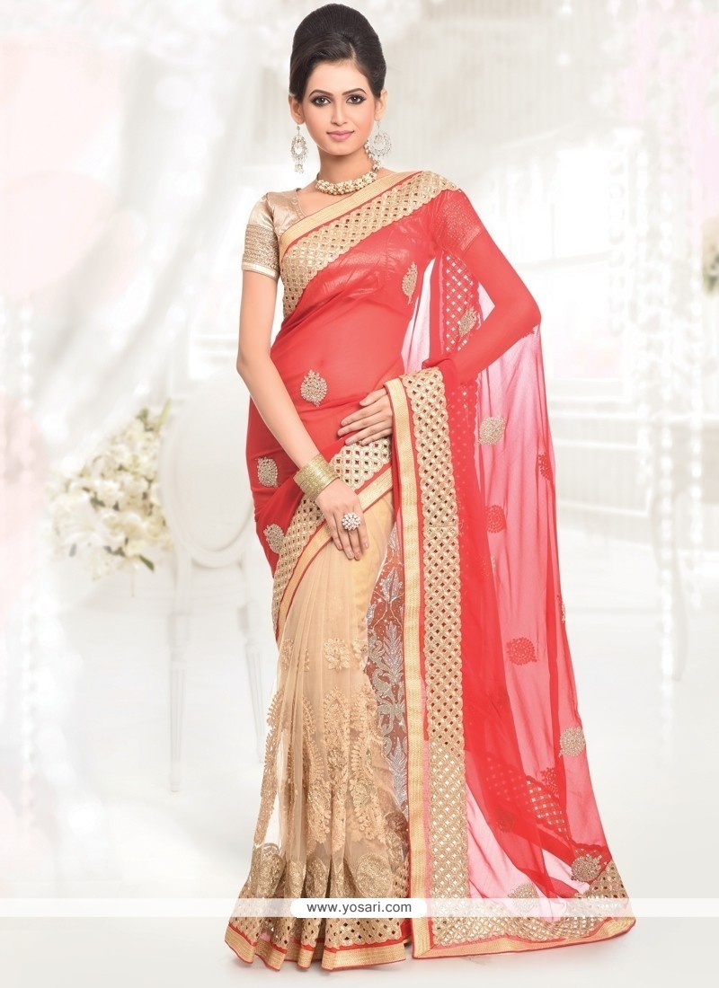 Subtle Cream And Red Half N Half Saree