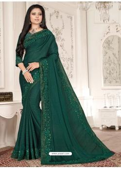 Dark Green Designer Party Wear Sari