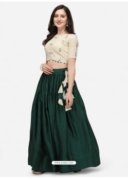 Dark Green Stylish Designer Crop-Top With Lehenga