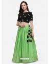 Green Stylish Designer Crop-Top With Lehenga