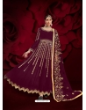 Deep Wine Designer Heavy Pure Georgette Anarkali Suit
