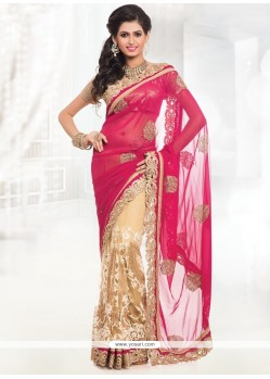 Aesthetic Net Cream And Pink Lace Work Half N Half Saree