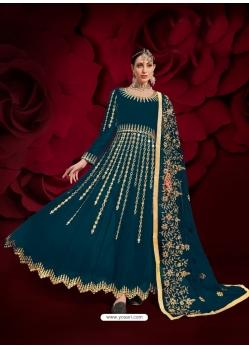 Teal Blue Designer Heavy Pure Georgette Anarkali Suit