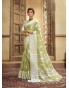 Green Designer Party Wear Cotton Linen Sari