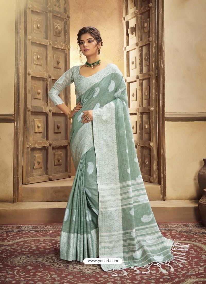 Grayish Green Designer Party Wear Cotton Linen Sari
