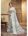 Grey Designer Party Wear Cotton Linen Sari