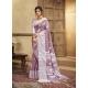 Lavender Designer Party Wear Cotton Linen Sari