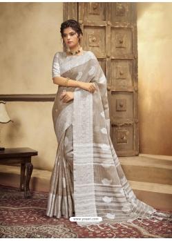 Light Brown Designer Party Wear Cotton Linen Sari