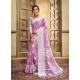 Mauve Designer Party Wear Cotton Linen Sari