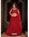 Maroon Stylish Designer Wedding Wear Net Lehenga Choli