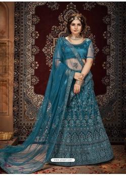 Teal Blue Stylish Designer Wedding Wear Net Lehenga Choli