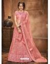 Peach Stylish Designer Wedding Wear Net Lehenga Choli