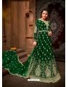 Dark Green Designer Net Anarkali Suit