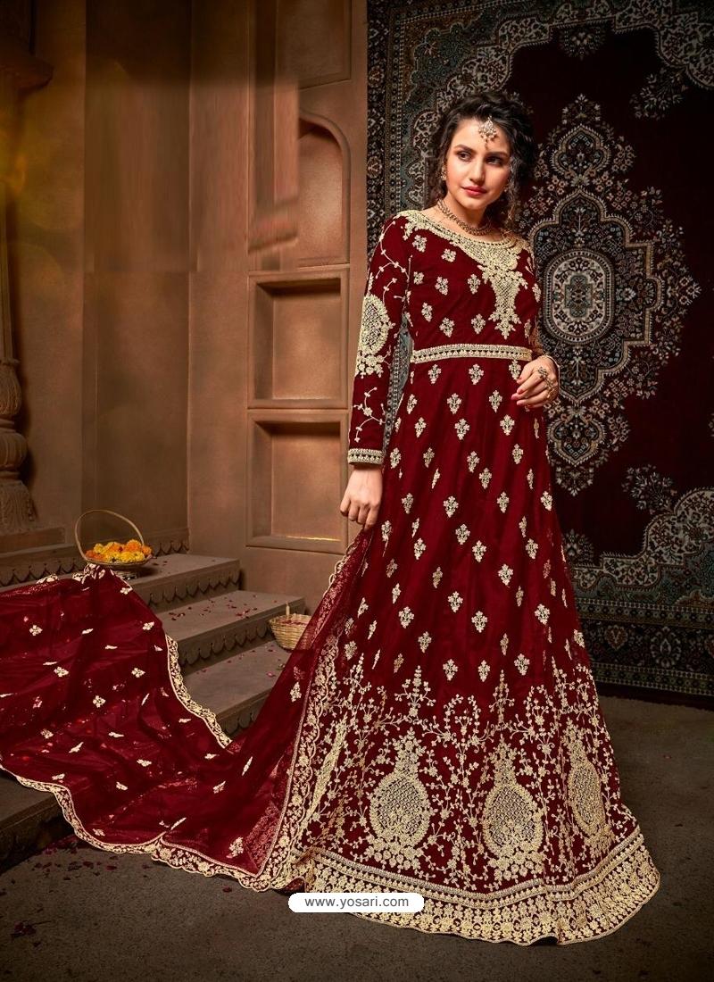 Maroon Designer Net Anarkali Suit