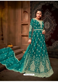 Turquoise Designer Net Anarkali Suit