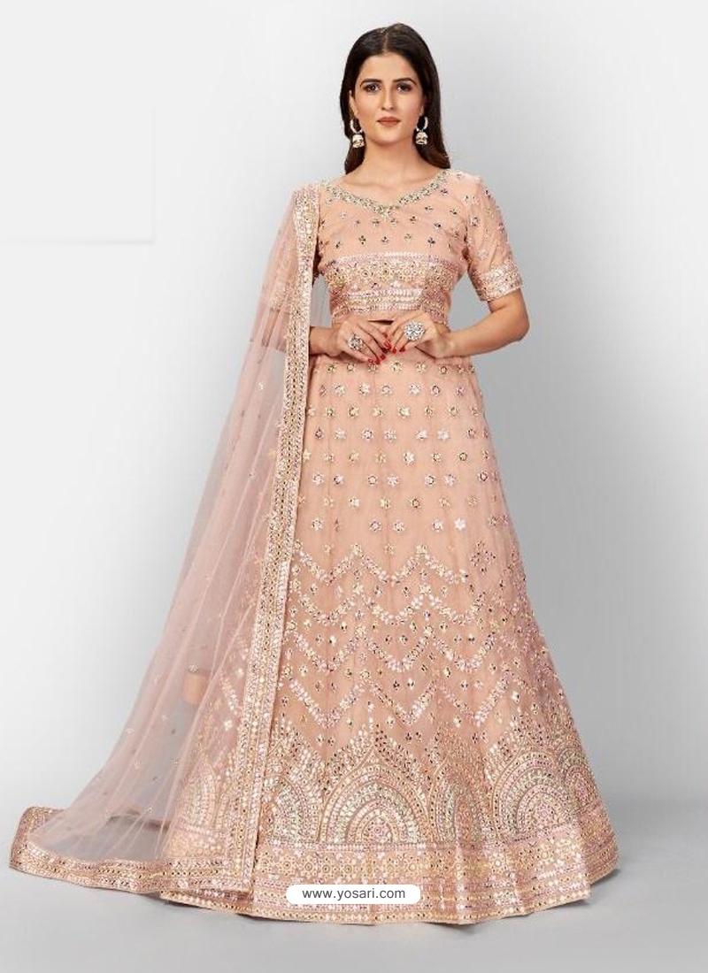 Light Beige Stylish Designer Wedding Wear Organza Lehenga Choli