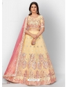 Cream Stylish Designer Wedding Wear Organza Lehenga Choli