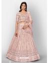 Baby Pink Stylish Designer Wedding Wear Organza Lehenga Choli
