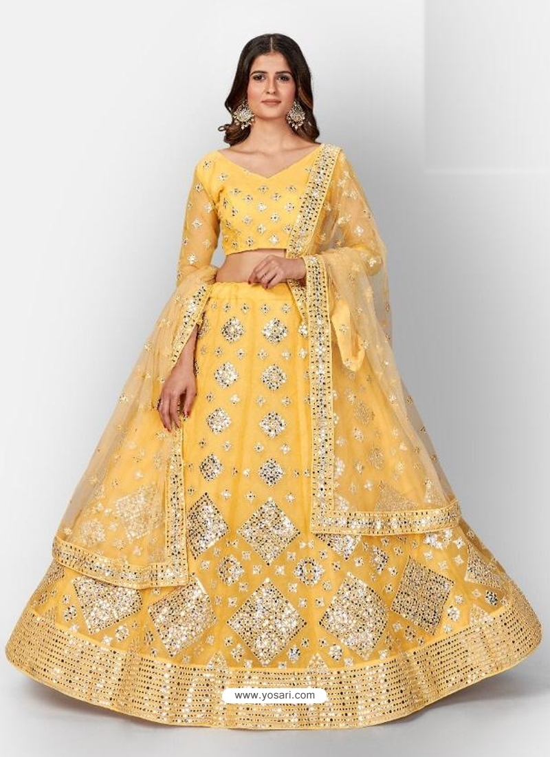 Yellow Stylish Designer Wedding Wear Organza Lehenga Choli