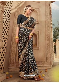 Black Designer Party Wear Banarasi Silk Sari