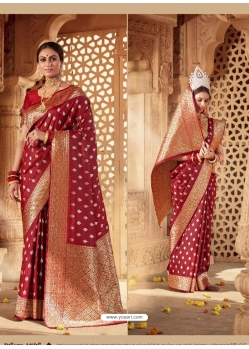 Maroon Designer Party Wear Banarasi Silk Sari
