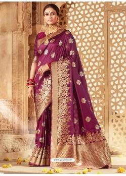 Deep Wine Designer Party Wear Banarasi Silk Sari