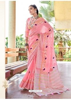 Pink Designer Party Wear Soft Linen Sari