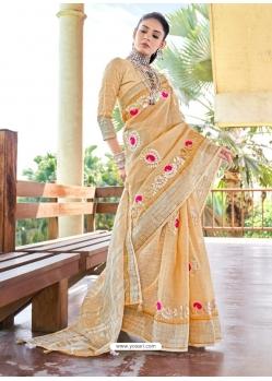 Cream Designer Party Wear Soft Linen Sari
