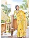 Lemon Designer Party Wear Soft Linen Sari