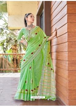 Parrot Green Designer Party Wear Soft Linen Sari