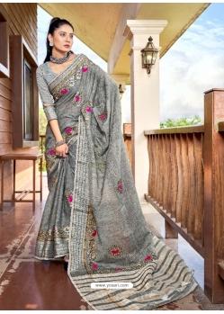 Grey Designer Party Wear Soft Linen Sari