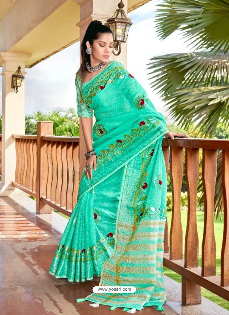 Aqua Mint Designer Party Wear Soft Linen Sari
