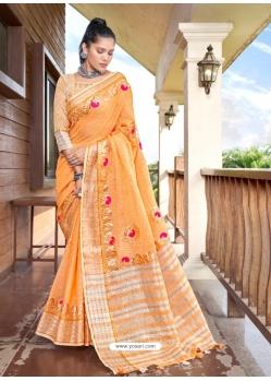 Orange Designer Party Wear Soft Linen Sari