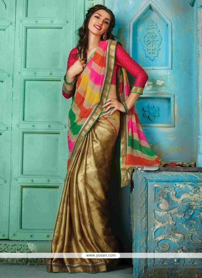 Classical Georgette Beige Designer Traditional Sarees