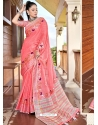 Peach Designer Party Wear Soft Linen Sari
